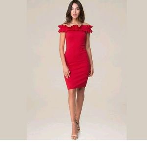 bebe Dresses - Bebe Red Ruched Off Shoulder Bodycon Dress XXS
